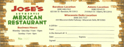 Jose's Gift Certificate